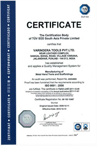 Certifications and Achievements of Varindera Hand Tools